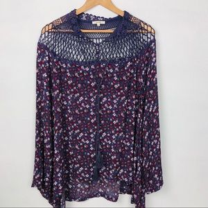 Easel by Anthropologie Crochet Tunic Top
